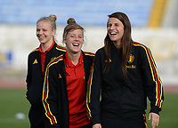 20180305 - LARNACA , CYPRUS :  Belgian Laura Deloose and Laura De Neve pictured during a pitch recognition before women's soccer game between  the Belgian Red Flames  and Austria , on Monday 5 March 2018 at the GSZ Stadium in Larnaca , Cyprus . This is the third game in group B for Belgium during the Cyprus Womens Cup , a prestigious women soccer tournament as a preparation on the World Cup 2019 qualification duels. PHOTO SPORTPIX.BE | DAVID CATRY