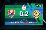 09.08.2019, Merkur Spiel-Arena, Düsseldorf, GER, DFB Pokal, 1. Hauptrunde, KFC Uerdingen vs Borussia Dortmund , DFB REGULATIONS PROHIBIT ANY USE OF PHOTOGRAPHS AS IMAGE SEQUENCES AND/OR QUASI-VIDEO<br /> <br /> im Bild | picture shows:<br /> Anzeigetafel Spielstand, <br /> <br /> Foto © nordphoto / Rauch