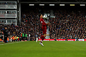 17th March 2019, Craven Cottage, London, England; EPL Premier League football, Fulham versus Liverpool; Trent Alexander-Arnold of Liverpool controls the ball