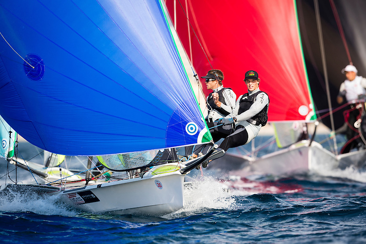 20140401, Palma de Mallorca, Spain: SOFIA TROPHY 2014 - 850 sailors from 50 countries compete at the ISAF Sailing World Cup event. 49er - USA31 - Trevor Moore / Cooper Dressler. Photo: Mick Anderson/SAILINGPIX.