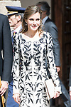 "Queen Letizia arrives to University of Alcala de Henares during award ceremony of literature in Spanish ""Miguel de Cervantes"" to in Madrid., April 20, 2017. Spain.<br /> (ALTERPHOTOS/BorjaB.Hojas)"