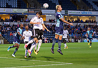 Max Muller of Wycombe Wanderers wins the header from Lucas Piazon of Fulham during the Carabao Cup match between Wycombe Wanderers and Fulham at Adams Park, High Wycombe, England on 8 August 2017. Photo by Alan  Stanford / PRiME Media Images.