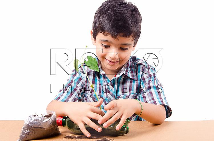 Criança plantando um pé de feijão em uma garrafa pet, São Paulo - SP, 12/2014. - Uso de imagem autorizado