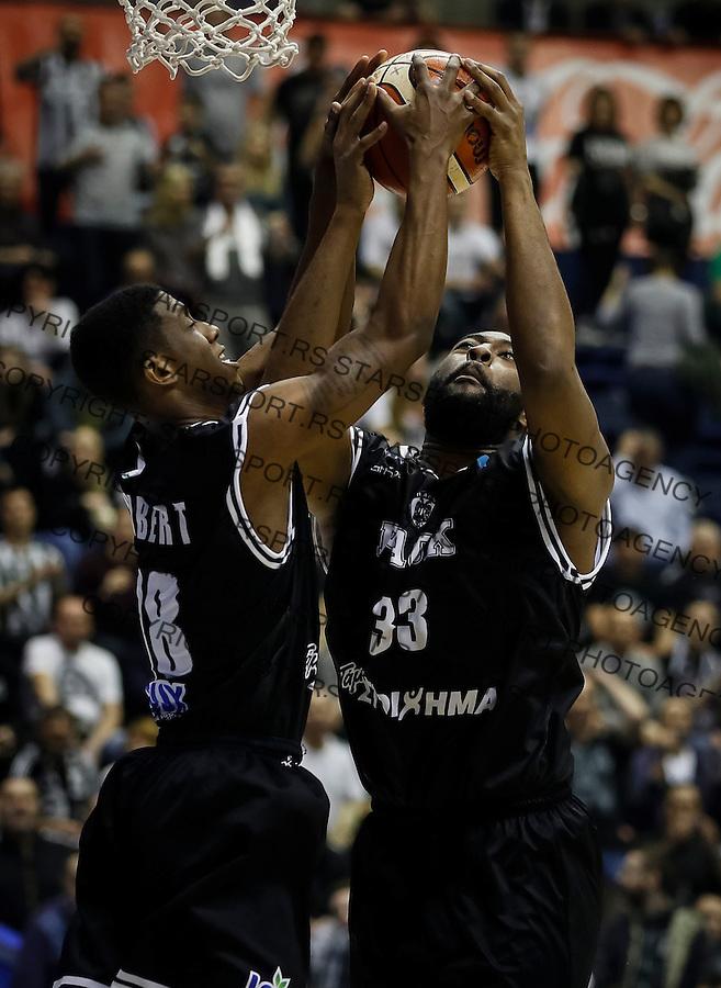 Kosarka FIBA Champions League season 2016-2017<br /> Partizan v PAOK<br /> Jordan Sibert (L) and Keith Clanton<br /> Beograd, 08.01.2016.<br /> foto: Srdjan Stevanovic/Starsportphoto &copy;