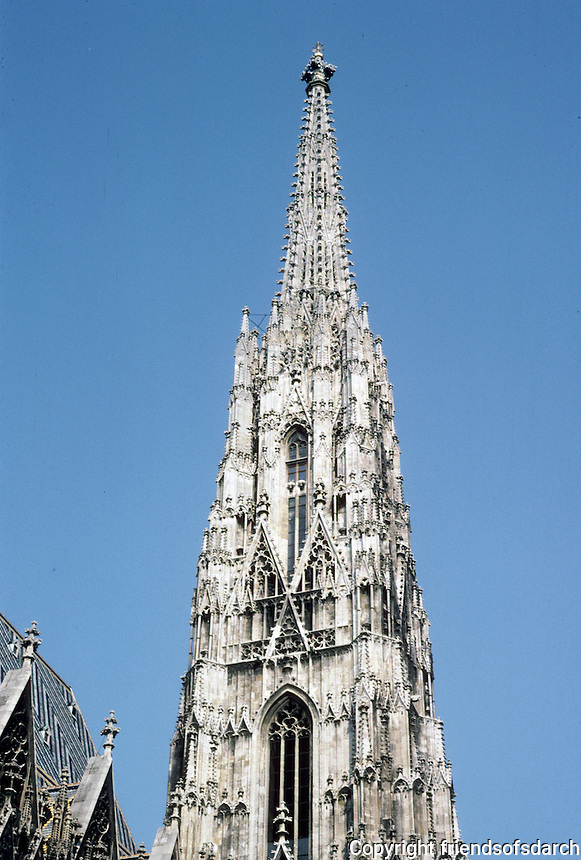 Vienna: St. Stephen's--the South Tower, 1433. Height is 443 ft. Romanesque, Gothic style. Photo '87.