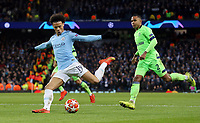 Manchester City's Leroy Sane sets up Bernardo Silva (not pictured) for his sides fifth goal<br /> <br /> Photographer Rich Linley/CameraSport<br /> <br /> UEFA Champions League Round of 16 Second Leg - Manchester City v FC Schalke 04 - Tuesday 12th March 2019 - The Etihad - Manchester<br />  <br /> World Copyright © 2018 CameraSport. All rights reserved. 43 Linden Ave. Countesthorpe. Leicester. England. LE8 5PG - Tel: +44 (0) 116 277 4147 - admin@camerasport.com - www.camerasport.com