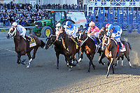 Gemologist (no. 6), ridden by Javier Castellano and trained by Todd Pletcher, wins the  88th running of the grade 1 Wood Memorial Stakes for three year olds on April 07, 2012 at Aqueduct Race Track in Ozone Park, New York.  (Bob Mayberger/Eclipse Sportswire)