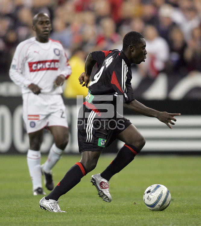 9 April 2005.   DC United's Freddy Adu (9) sprints with the ball while playing Chicago at RFK Stadium in Washington, DC.