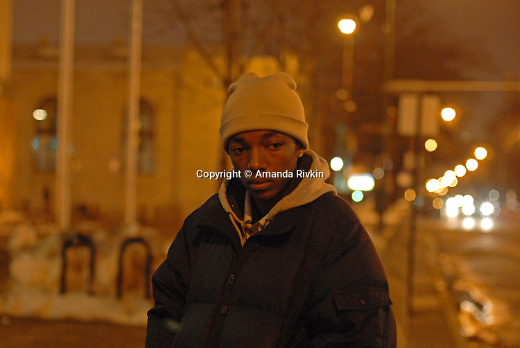 Anton Harrison, 15, at a protest and public eulogy for the 18 people killed by Chicago police officers in 2007 outside Chicago Police Headquarters on the corner of Michigan and 35th Street in Chicago, Illinois on December 20, 2007.  Harrison's 18 year old brother Aaron was shot and killed by a police officer on Chicago's West Side on August 6, 2007.