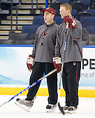 Mike Cavanaugh (BC - Associate Head Coach), Greg Brown (BC - Assistant Coach) - The Boston College Eagles practiced on Friday, April 6, 2012, during the 2012 Frozen Four at the Tampa Bay Times Forum in Tampa, Florida.