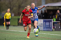 Allston, MA - Sunday, May 1, 2016:  Portland Thorns FC midfielder Tobin Heath (17) and Boston Breakers defender Julie King (8) in a match at Jordan Field, Harvard University.