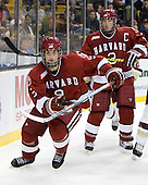 Danny Biega (Harvard - 9), Alex Biega (Harvard - 3) - The Boston College Eagles defeated the Harvard University Crimson 6-0 on Monday, February 1, 2010, in the first round of the 2010 Beanpot at the TD Garden in Boston, Massachusetts.