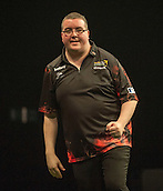 09.04.2015. Sheffield, England. Betway Premier League Darts. Matchday 10.  Stephen Bunting [ENG] celebrates a big finish against Michael van Gerwen [NED]