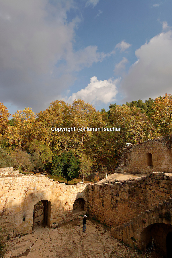 Israel, Jerusalem Mountains. Crusader-period building at Ein Hemed National Park