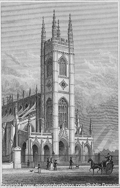 Saint Luke church, Chelsea, engraving from 'Metropolitan Improvements, or London in the Nineteenth Century' London, England, UK 1828 , drawn by Thomas H Shepherd