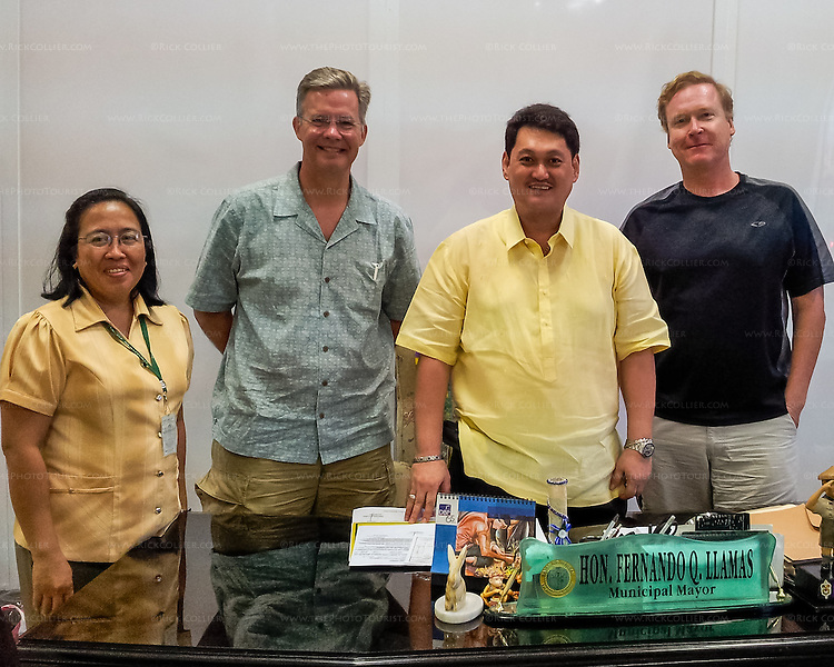 Mark and Rick pose with Mauban Mayor Llamas and Tourism Officer (and Buri organizer) Anie Calleja.