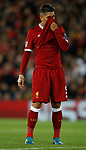 Roberto Firmino of Liverpool hides his face during the Champions League Group E match at the Anfield Stadium, Liverpool. Picture date 13th September 2017. Picture credit should read: Simon Bellis/Sportimage