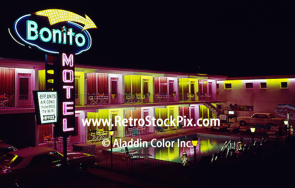 Bonito Motel Wildwood,NJ. Large Neon Sign and lights around the pool at night.