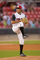 Relief pitcher Joe Krebs #36 of the Carolina Mudcats in action versus the Birmingham Barons at Five County Stadium August 15, 2009 in Zebulon, North Carolina. (Photo by Brian Westerholt / Four Seam Images)