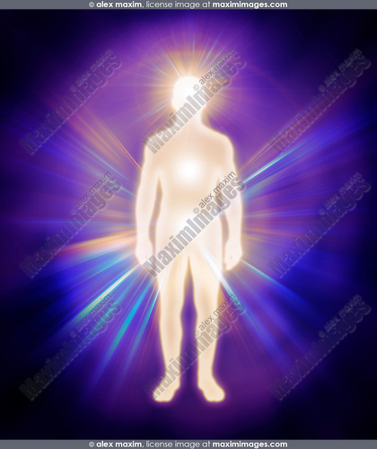 Man energy body. Human luminous being, aura, energy emanations, spiritual concept