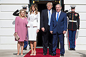 Benjamin Netanyahu, Israel's prime minister, from right, and U.S. President Donald Trump stand with their wives Melania Trump and Sara Netanyahu as they arrive at the South Portico of the White House in Washington, D.C., U.S., on Wednesday, Feb. 15, 2017. Netanyahu is trying to recalibrate ties with Israel's top ally after eight years of high-profile clashes with former President Barack Obama, in part over Israel's policies toward the Palestinians. <br /> Credit: Andrew Harrer / Pool via CNP