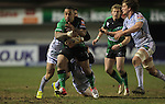 Connacht wing Fetu'u Vainikolo runs into trouble as the Blues defence closes in..Celtic League.Cardiff Blues v Connacht.22.02.13.©Steve Pope-SPORTINGWALES