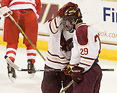 Pat Morris (BC - 8), Brian Isaac (BC - 29) - The Boston College Eagles defeated the visiting Boston University Terriers 6-2 in ACHA play on Sunday, December 4, 2011, at Kelley Rink in Conte Forum in Chestnut Hill, Massachusetts.