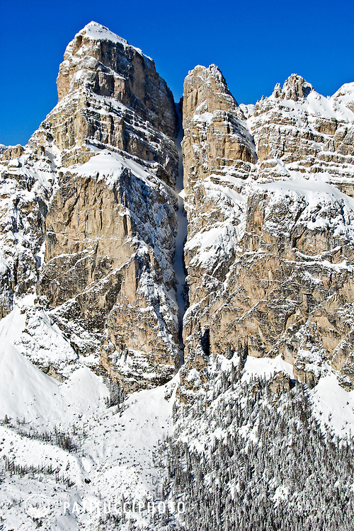 The Sassongher and Val Scura, a famous ski couloir above Corvara and the Alta Badia, Italian Dolomites