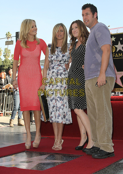 Malin Ackerman, Jennifer Aniston, Kathryn Hahn and Adam Sandler.Jennifer Aniston is honored with a Star on the Hollywood Walk of Fame on Hollywood Blvd., Hollywood, California, USA..February 22nd, 2012.full length white blue print dress grey gray suit black plaque purple t-shirt sunglasses shades black pink red.CAP/ADM/KB.©Kevan Brooks/AdMedia/Capital Pictures.