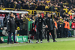 05.02.2019, Signal Iduna Park, Dortmund, GER, DFB-Pokal, Achtelfinale, Borussia Dortmund vs Werder Bremen<br /> <br /> DFB REGULATIONS PROHIBIT ANY USE OF PHOTOGRAPHS AS IMAGE SEQUENCES AND/OR QUASI-VIDEO.<br /> <br /> im Bild / picture shows<br /> Florian Kohfeldt (Trainer SV Werder Bremen) ver&auml;rgert / emotional in Coachingzone / an Seitenlinie nach 3:2 F&uuml;hrung f&uuml;r Dortmund bei Robert Schr&ouml;der (4. Offizieller Schiedsrichter / 4th referee),  <br /> <br /> Foto &copy; nordphoto / Ewert