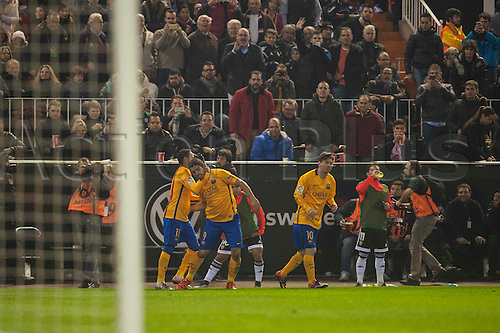 05.12.2015. Valenica, Spain. La Liga football, Valencia CF versus FC Barcelona.  Luis Suarez celebrates his goal for barcelona
