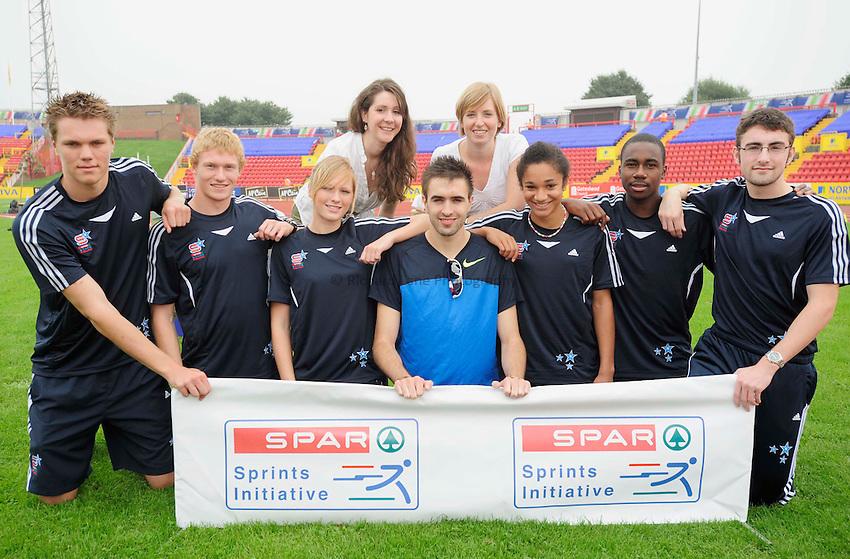 Photo: Richard Lee/Richard Lane Photography..Aviva British Grand Prix at Gateshead. 31/08/2008. 400m runner Martyn Rooney (centre) with members of the Spar Stars Squad.