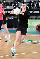 15.09.2012 Silver Ferns Leana de Bruin in action at training at the Hisense Arena In Melbourne ahead of the first netball test match between the Silver Ferns and Australia. Mandatory Photo Credit ©Michael Bradley.