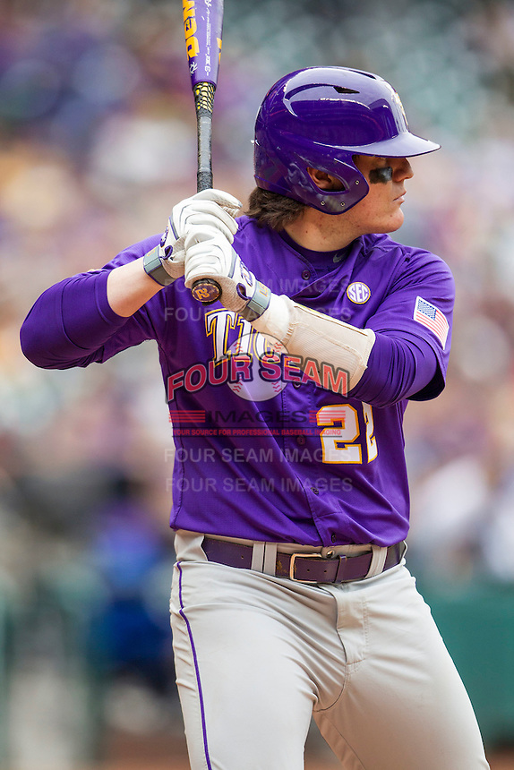 LSU Tigers catcher Kade Scivicque (22) at bat during the NCAA baseball game against the Baylor Bears on March 7, 2015 in the Houston College Classic at Minute Maid Park in Houston, Texas. LSU defeated Baylor 2-0. (Andrew Woolley/Four Seam Images)