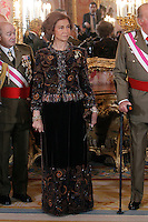 Queen Sofia of Spain attend the traditional 'Pascua Militar' ceremony at The Royal Palace. January 06, 2013. (ALTERPHOTOS/Caro Marin)