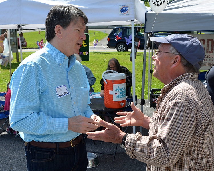 Skip Arthur, talking with, U.S. Representative of the 19th District, John Faso, at the Opening Day of the 2017 Saugerties Farmer's Market on Saturday, May 27, 2017. Photo by Jim Peppler. Copyright/Jim Peppler-2017.