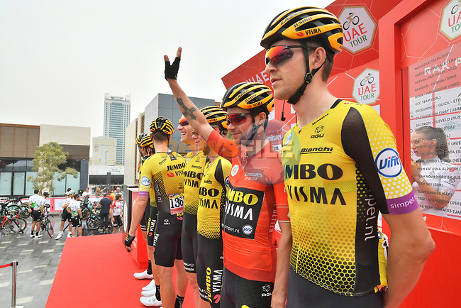 Race leader Primoz Roglic (SLO) and Team Jumbo-Visma presented at sign on before the start of Stage 6 of the 2019 UAE Tour, running 175km form Ajman to Jebel Jais, Dubai, United Arab Emirates. 1st March 2019.<br /> Picture: LaPresse/Massimo Paolone | Cyclefile<br /> <br /> <br /> All photos usage must carry mandatory copyright credit (© Cyclefile | LaPresse/Massimo Paolone)