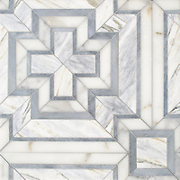 Felix, a hand-cut stone mosaic, shown in polished Cirrus, Calacatta Gold, Allure, is part of the Semplice™ collection for New Ravenna.