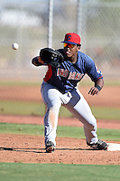 Cleveland Indians first baseman Emmanuel Tapia (24) during an Instructional League game against the Seattle Mariners on October 1, 2014 at Goodyear Training Complex in Goodyear, Arizona.  (Mike Janes/Four Seam Images)