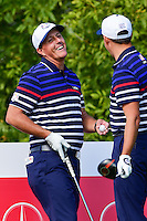 Phil Mickelson (USA) and Rickie Fowler (USA) share a laugh on the 10th tee during the practice round at the Ryder Cup, Hazeltine National Golf Club, Chaska, Minnesota, USA.  9/29/2016<br /> Picture: Golffile | Ken Murray<br /> <br /> <br /> All photo usage must carry mandatory copyright credit (&copy; Golffile | Ken Murray)