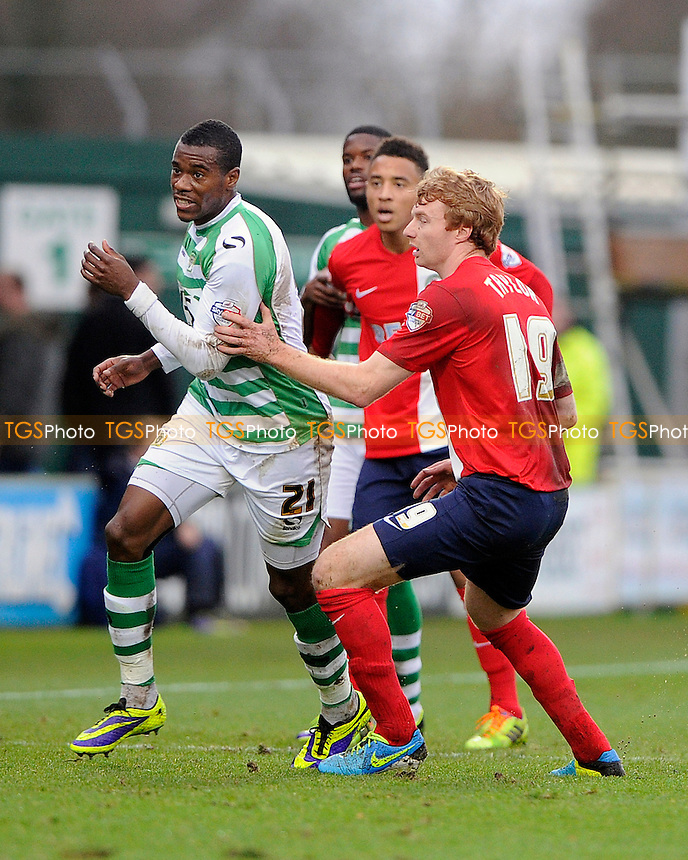 Chris Taylor of Blackburn Rovers keeps close to Liam Davis of Yeovil Town - Yeovil Town vs Blackburn Rovers - Sky Bet Championship Football at Huish Park, Yeovil, Somerset - 21/12/13 - MANDATORY CREDIT: Denis Murphy/TGSPHOTO - Self billing applies where appropriate - 0845 094 6026 - contact@tgsphoto.co.uk - NO UNPAID USE