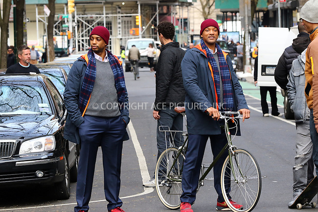 WWW.ACEPIXS.COM<br /> <br /> March 31 2016, New York City<br /> <br /> Actor Will Smith (R) with his body double on the set of the new movie 'Collateral Beauty' on March 31 2016 in New York City<br /> <br /> By Line: Zelig Shaul/ACE Pictures<br /> <br /> <br /> ACE Pictures, Inc.<br /> tel: 646 769 0430<br /> Email: info@acepixs.com<br /> www.acepixs.com