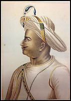 BNPS.co.uk (01202) 558833<br /> Pic: <br /> <br /> Indian miniature painting of Tipu Sultan.<br /> <br /> Stunning artefacts from Indian hero Tipu Sultan's fateful last stand have been rediscovered by the family of an East India Company Major who took part in the famous battle that ended his reign.<br /> <br /> And now Major Thomas Hart's lucky descendents are likely to become overnight millionaires after retrieving the historic items from their dusty attic.<br /> <br /> The fascinating treasures were taken from Tipu's captured fortress of Seringapatam in the wake of his defeat by British forces led by a young Duke of Wellington in 1799.<br /> <br /> The cache of ornate gold arms and personal effects even include's the battle damaged musket the Sultan used in his fatal last stand against the expanding British Empire in India.<br /> <br /> Tipu was last seen on the battlements of the fortress firing his hunting musket at the advancing British and after the fierce encounter his body was found bearing many wounds, including a musket ball shot above his right eye.<br /> <br /> The rediscovered musket, complete with battle damaged bayonet, has the distinctive tiger stripe pattern unique to the self styled Tiger of Mysore own weapons - and tellingly there is also shot damage to the lock and stock that may have been caused by the musket ball that finished him off.<br /> <br /> Also included in the sale are four ornate gold-encrusted sword's bearing the mark of Haider Ali Khan, Tipu's father and the previous ruler of independent Mysore, along with a solid gold &lsquo;betel casket&rsquo; complete with three 220 year old nuts still inside.<br /> <br /> The war booty was brought back to Britain by Major Thomas Hart of the British East India Company following the fourth and final Anglo-Mysore war.<br /> <br /> They have been passed down through the family ever since and now belong to a couple who have kept them wrapped in newspaper in the dusty attic of their semi-detached home for years.