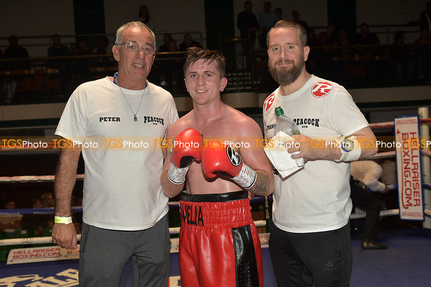 Simon Corcoran (red/black shorts) defeats Liam Richards during a Boxing Show at York Hall on 6th October 2018