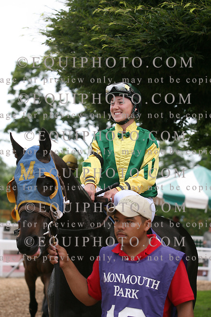 Jockey Alice Cartwright makes her first career start at Monmouth Park Racetrack in Oceanport, N.J..  Photo By Bill Denver/EQUI-PHOTO..