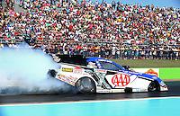 Sept. 22, 2013; Ennis, TX, USA: NHRA funny car driver Robert Hight during the Fall Nationals at the Texas Motorplex. Mandatory Credit: Mark J. Rebilas-