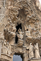 Joseph and Mary seeking Jesus; The Virgin visiting her cousin Elisabeth; Jesus proclaiming himself son of God, Faith hallway, Nativity façade, La Sagrada Familia, Barcelona, Catalonia, Spain, Roman Catholic basilica, built by Antoni Gaudí (Reus 1852 ? Barcelona 1926) from 1883 to his death. Still incomplete Picture by Manuel Cohen