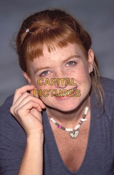 PATSY PALMER.Ref: JM.headshot, portrait, hand, necklace, fringe, smiling.www.capitalpictures.com.sales@capitalpictures.com.© Capital Pictures