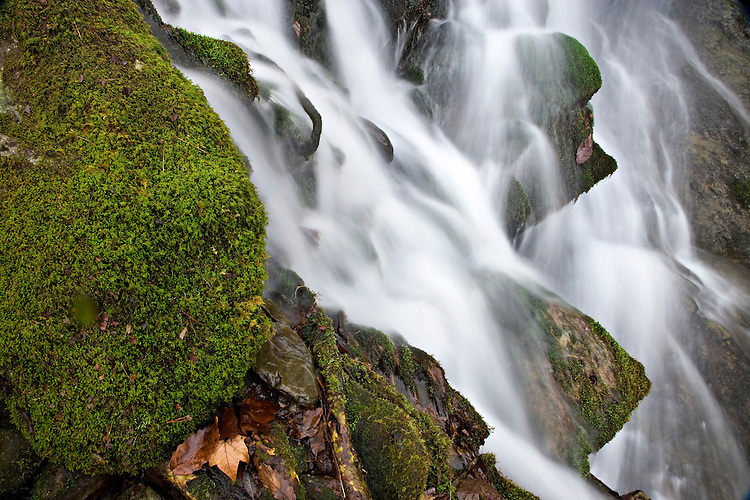 Waterfall and moss-covered rocks along the Middle Prong of the Little River; Great Smoky Mountains National Park, TN
