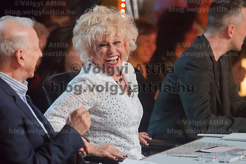 Cecilia Esztergalyos member of the jury is seen in the live broadcast celebrity dancing talent show Saturday Night Fever by Hungarian television company RTL II in Budapest, Hungary on March 16, 2013. ATTILA VOLGYI